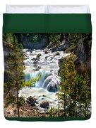 Firehole River Falls Duvet Cover