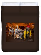 Firemen Brace For Shock Duvet Cover by Stocktrek Images