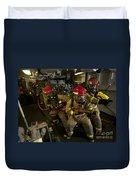 Firemen Combat A Simulated Fire Aboard Duvet Cover