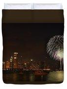 Fireworks Against Chicago Skyline Duvet Cover