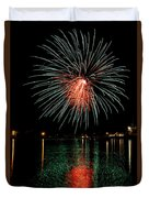 Fireworks Of Green And Red Duvet Cover