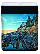 First Light At Bass Harbor Duvet Cover