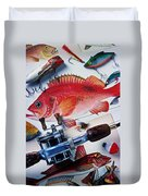 Fish Bookplates And Tackle Duvet Cover by Garry Gay