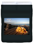 Fish 'n' Chips By The Beach Duvet Cover by Rob Hawkins