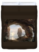 Fisherman In A Grotto Helgoland Duvet Cover by Christian Ernst Bernhard Morgenstern