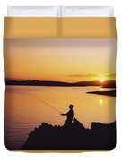 Fishing At Sunset, Roaring Water Bay Duvet Cover