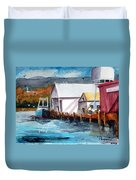 Fishing Boat And Dock Watercolor Duvet Cover