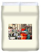 Fishing Boat In Harbor Duvet Cover