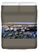 Fishing Boat Moored At A Harbor Duvet Cover