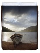 Fishing Boat Moored On Lough Nafooey Duvet Cover