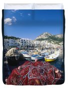 Fishing Boats And Nets In The Marina Duvet Cover