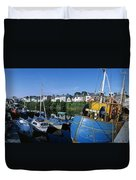 Fishing Boats At A Harbor, Roundstone Duvet Cover