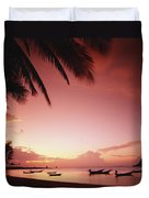Fishing Boats At Sunset On Mae-haad Duvet Cover