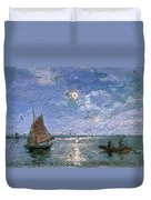 Fishing Boats By Moonlight Duvet Cover