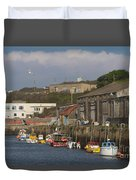 Fishing Boats Hayle Harbour Duvet Cover
