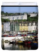 Fishing Boats Moored At A Harbor, Cobh Duvet Cover