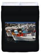 Fishing Boats Mykonos Duvet Cover