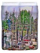 Fishing Docks Hdr Duvet Cover
