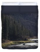 Fishing For Steelhead On The Salmon Duvet Cover