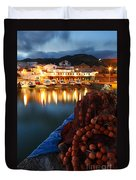 Fishing Harbour At Dusk Duvet Cover