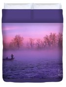 Fishing On The Bow Duvet Cover by Bob Christopher
