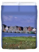 Fishing Shacks Line The Bay At Malpeque Duvet Cover