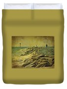 Fishing The Jetty - Island Beach State Park   Nj Duvet Cover