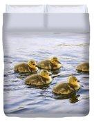 Five Goslings In The Water Duvet Cover