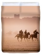 Five People Riding Thoroughbred Horses Duvet Cover