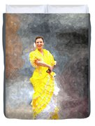 Flamenco Dancer In Yellow Duvet Cover