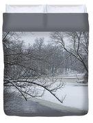 Flat River In Winter No.026 Duvet Cover