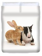 Flemish Giant Rabbit And Miniature Bull Duvet Cover