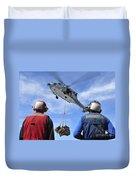 Flight Deck Personnel Wait For Supplies Duvet Cover