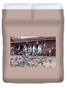 Flight Of Pigeons Inside The Jama Masjid In Delhi Duvet Cover