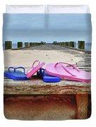 Flip Flops On The Dock Duvet Cover