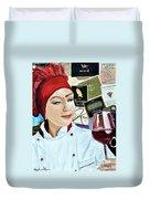 Flo Enjoys A Glass Of Wine Duvet Cover