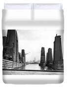 Floating Grain Elevators In Ny Duvet Cover