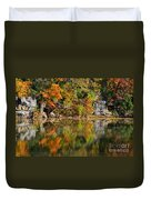 Floating Leaves In Tranquility Duvet Cover