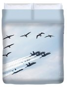 Flock Of Canada Geese At Air Show Duvet Cover