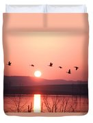 Flock Of Canada Geese Flying Duvet Cover