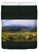 Flock Of Sheep Grazing In A Field Duvet Cover