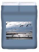 Flocking Gulls Duvet Cover