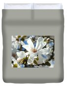 Floral Art Prints White Magnolia Flowers Duvet Cover