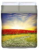 Floral Field On Sunset Duvet Cover