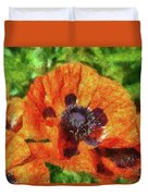 Flower - Poppy - Orange Poppies  Duvet Cover