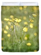 Flower Of A Buttercup In A Sea Of Yellow Flowers Duvet Cover