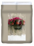 Flower Pots On Old Wall Duvet Cover