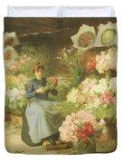 Flower Seller In Front Of The Madeleine Church Duvet Cover