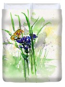 Flowers And Butterfly Duvet Cover