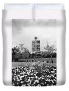 Flowers At Citi Field In Black And White Duvet Cover by Rob Hans